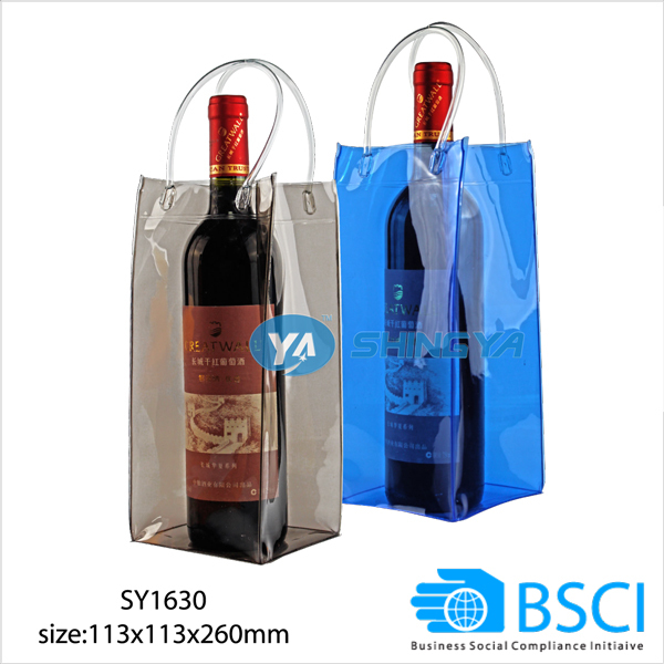 pvc wine bottle ice cooler bag with handle for promotion