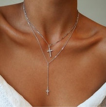 SN1048 Simple Multilayered Chain Gold Silver Custom Gun Cross Pendant Layered Choker Necklace For Women
