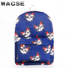 Big capacity cute cartoon cats book bags for high school