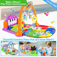 HX9106 powerful function piano with cute hanging toys baby carwling mat