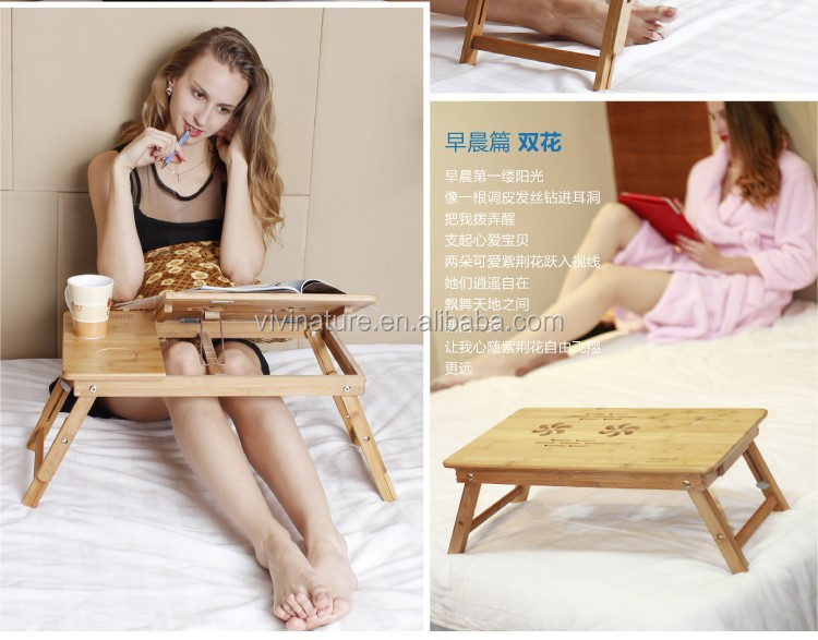Vivinature wooden tablet and folding laptop working desk in living room, laptop working desk