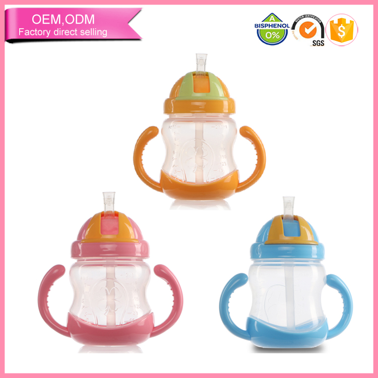 Fairy Baby Silicone Straw Sippy Cup Slip Lid with Dual Handles