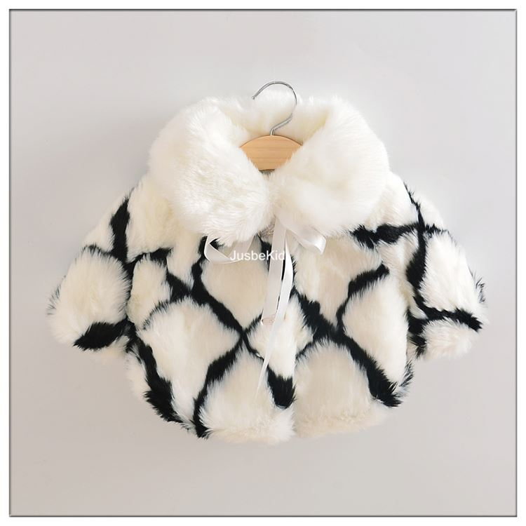 New Design Black White Girls Fur Coat