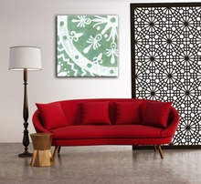 Home decoration wheel pattern wall fabric painting designs for living room