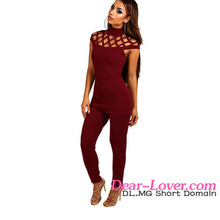 Ladies Summer Clothes Cage Top Skinny Fit Jump Suit for Women