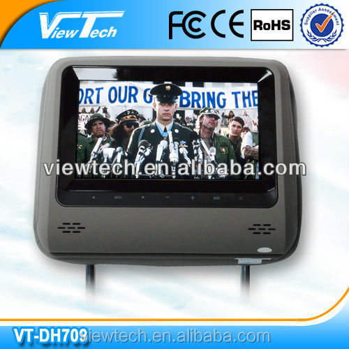 2016 energy saving 7 inch Smallest pillow slot Headrest DVD player