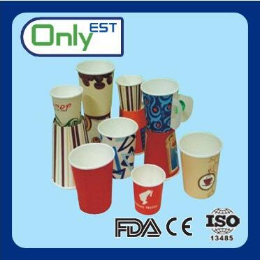 Disposable food grade custom paper coffee cup with handle paper cup