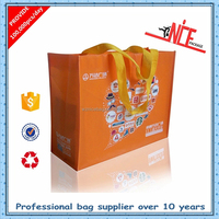 reusable cheap custom non woven lamianted orange tote bag