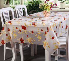 anti-slip table cloth printed little red and yellow flowers