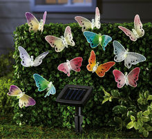 Solar Fiber Optic Butterfly String Lights Garden Lawn Outdoor Spring Summer New