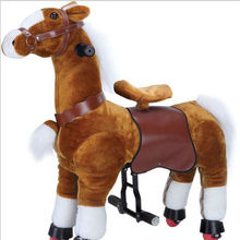 HI EN71 mechanical plush rocking horse on wheels