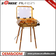 Hot-selling Portable Makeup Case Station Elegant Beauty Case with Lighted Mirror, Trolley, Legs and Sound Speaker