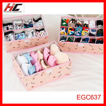 3pcs/set EGC637 Home Storage Containers Folding Storage Box For Socks Ties Bra Lingerie Organiser