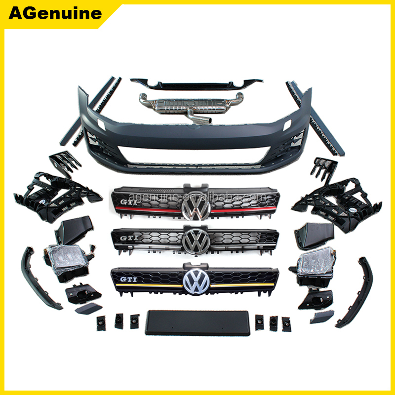 PP plastic GTI style front bumper rear bumper side skirt grills conversion car body kit for Volkswagen VW Golf 7 MK7