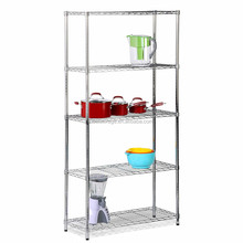 Stainless steel or powder coated or chrome wire mesh shelving shelves with wheels