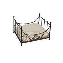 antique style pet accessories black wrought iron dog bed with ticking cushion luxury metal frame dog bed