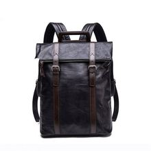 2017 Factory Free Custom LOGO OEM Small MOQ Genuine Leather Brand Backpack Men