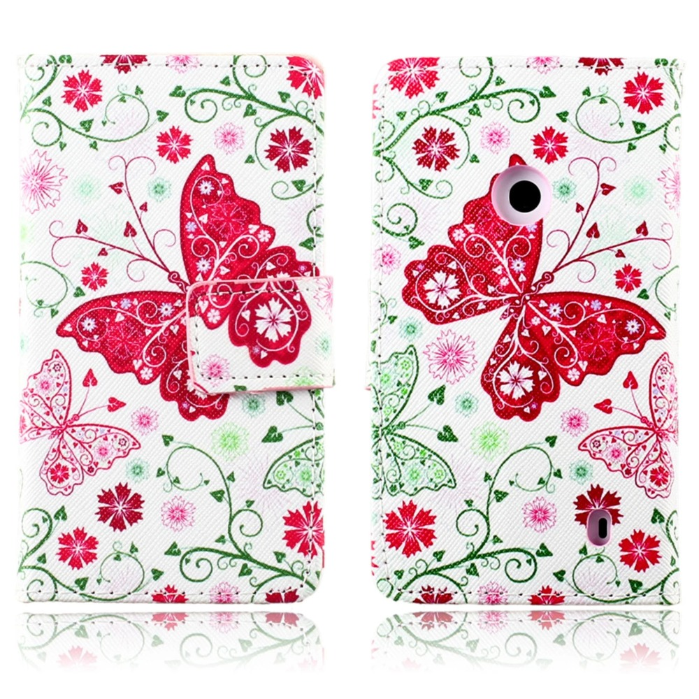 For Nokia Lumia 520 N520 Phone Case Beautiful Cute Print Cover Stand PU Leather Phone Bag Magnetic Smart Shell Case Wallet