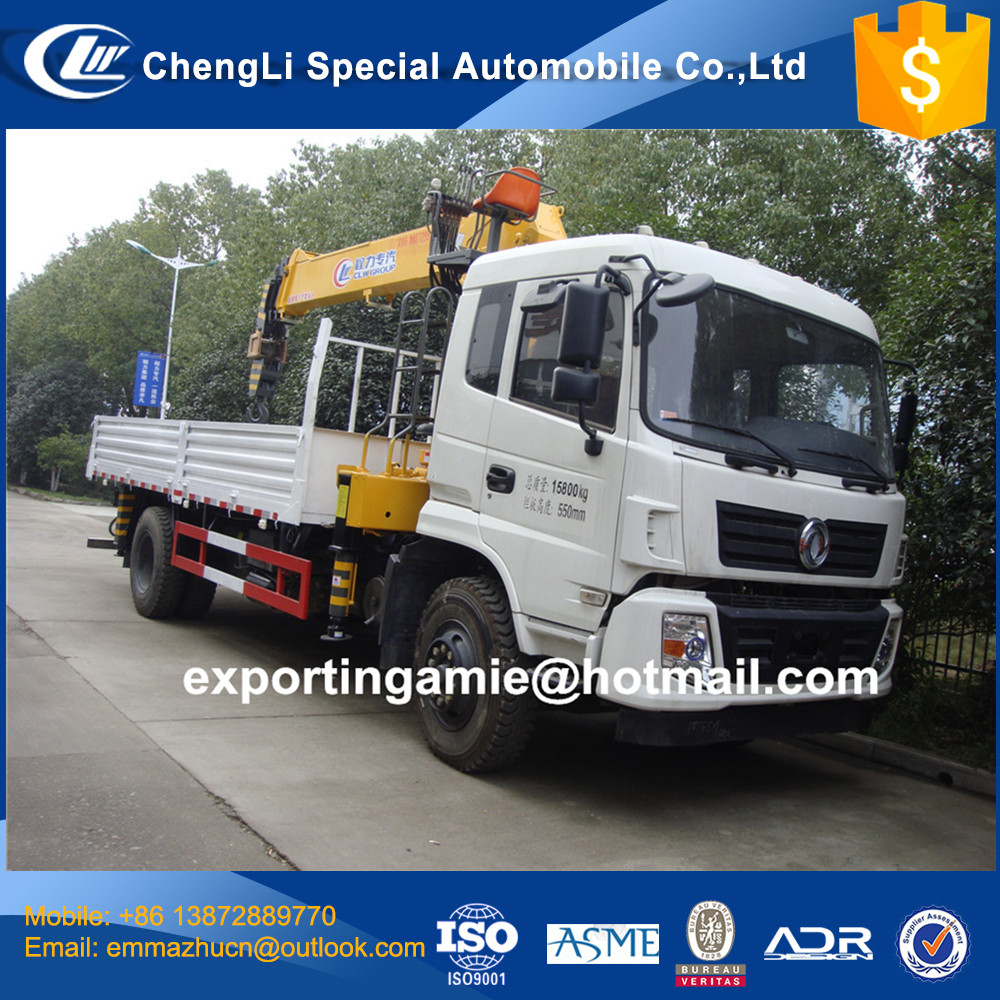 2017 latest euro4 dongfeng 6 wheel 8 tons telescopic boom truck mounted crane for sale