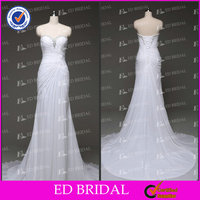 ED Bridal Real Sample Beach Wedding Dresses Mermaid Strapless Pleated Wedding Dresses China Chiffon White