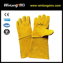 cowhide split leather,woolen lining fabric safety welding work gloves
