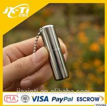 survival Capsule shped Pill box,52 mm Outdoor Polished Titanium Metal Capsule Pill Case Container