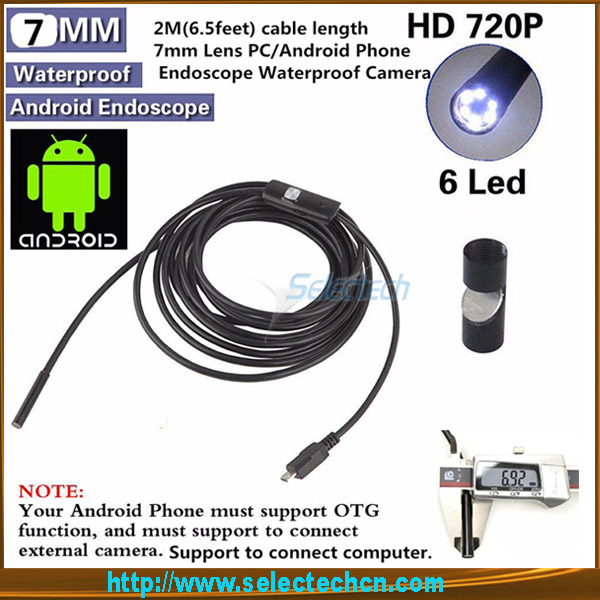 SE-U7 Andriod 7mm USB inspection Endoscope 6 LED IP66 Waterproof underwater endoscope flexible digital usb inspection cameras