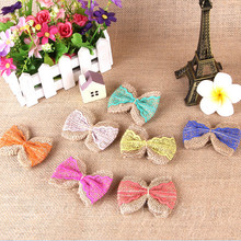 Eco-Friendly 100% Burlap Jute Fabric Bows Single Faced Ribbon Bows Hair Accessories Kids Hair Bows for Hair Decoration F116