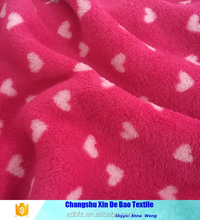 100% polyester 2 faced knitting heart print coral fabric for woman cloth