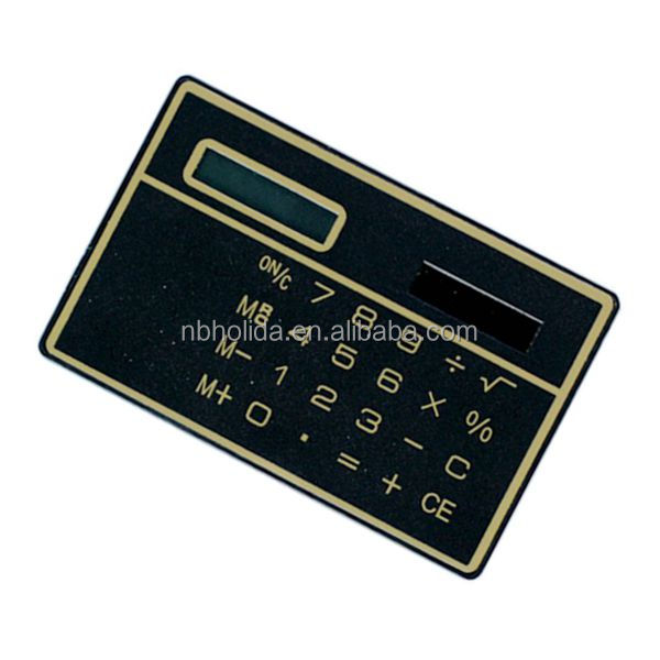 solar powered thin pocket credit card calculator, giveaway calculator/ HLD-807