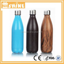 Double Wall Vacuum Flask Bottle Wood Grain Thermos Cola Water Bottle