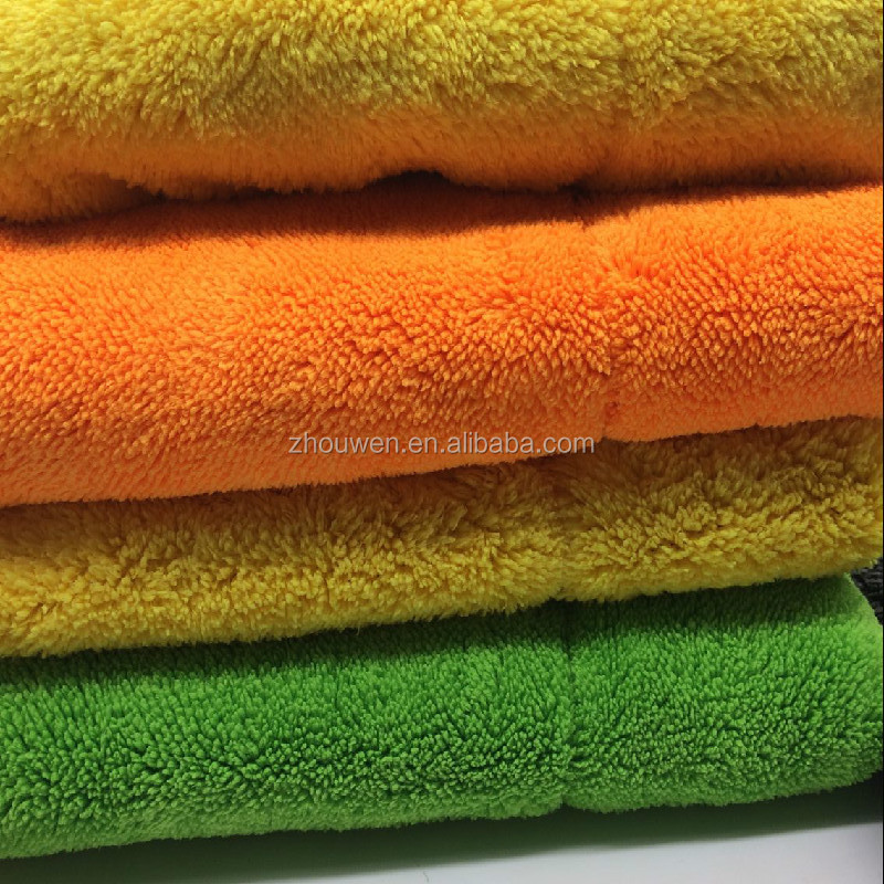 Microfiber towel coral fleece fabric double side car drying cloth