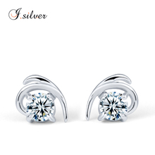 wholesale 925 sterling Silver cz heart shaped stud earring silver jewelry LQE6867