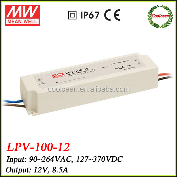 Meanwell LPV-100-12 102w waterproof led driver 12v