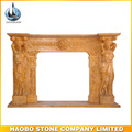 Yellow marble made fireplace mantles for indoor decorative