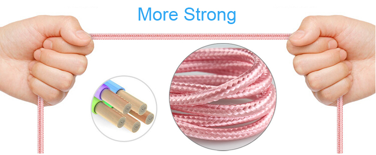 Wholesale fast charge nylon braided usb charger cable for iPhone X