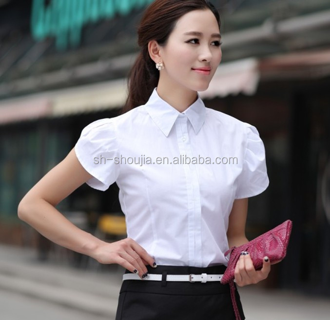womens work shirt women's blouse shirt design women's beautiful formal short sleeve blouse, pretty blouse customized for lady