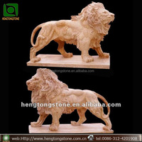 Natural Marble Stone Carved Garden Lion Statue