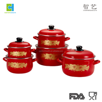 New design 5pcs korea enamel cookware set