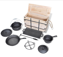 Cast Iron Wood Crate Cook Set