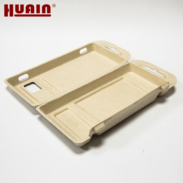 Custom Molded Bamboo Pulp Eco Clamshell Packaging