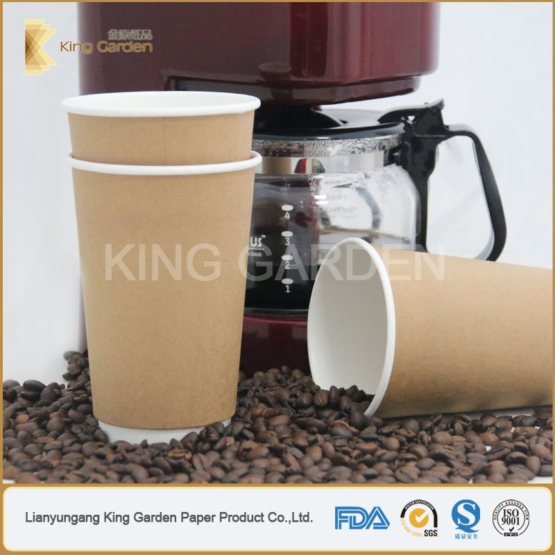 Branded Kraft Double Wall Hot Coffee Paper Cups Stock