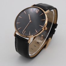 Sapphire crystal leather simple mens minimalist watch oem custom logo made in china
