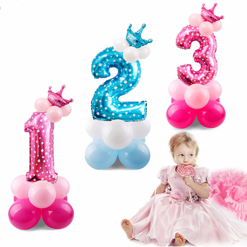 YB Happy Birthday Party Decoration Blue Pink Number Metallic Gold Foil Balloon Kids Boy Girl Figure Helium Party Balloons