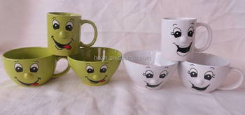 Funny smiley faces ceramic mugs soup cups bowls