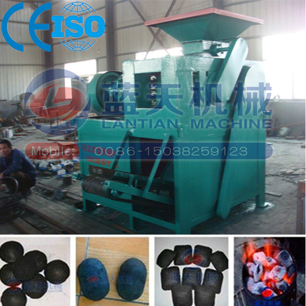 Four roller twice press coal charcoal ball briquetting press machine