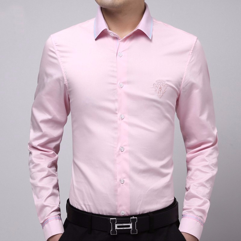 wholesale custom designs embroieded long sleeve blank cotton shirts office dress formal shirts for men with button up fashion