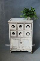 Chinese antique furniture pine wood white money style Two door six drawer cabinet