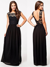 Elegant Sleeveless Lace Crocheted Chiffon Maxi Backless Cocktail Dresses