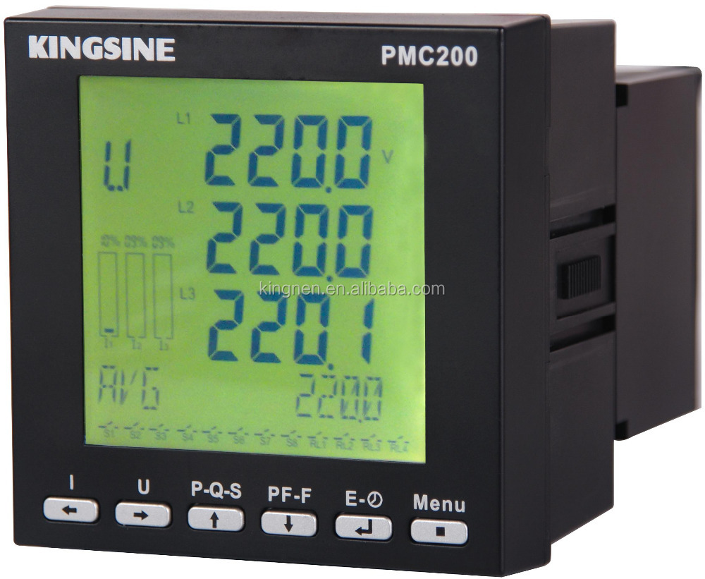 3 phase digital harmonic power meter with ethernet rs485 modbus panel-mount